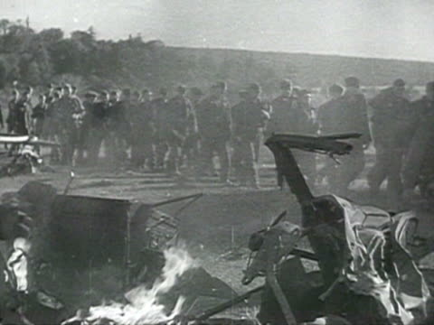 shot of wrecked tanks fighting equipment captured german soldiers and frozen dead bodies audio / russia - frozen stock videos & royalty-free footage