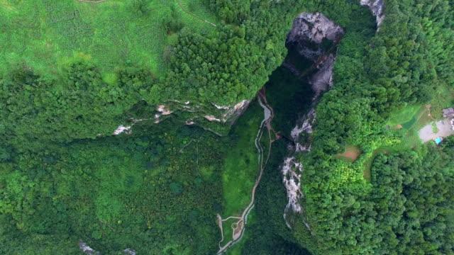 WS AERIAL shot of Wulong Karst Landform,Chongqing, China