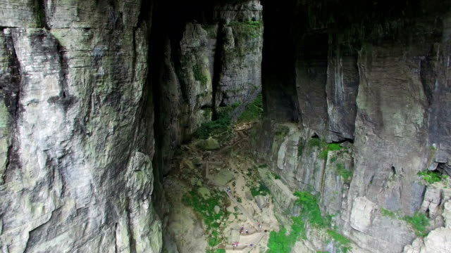 ws aerial shot of wulong karst landform,chongqing, china - felswand stock-videos und b-roll-filmmaterial