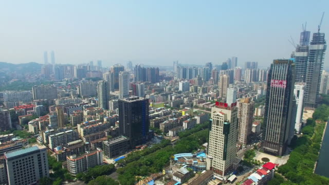 WS AERIAL shot of Xiamen cityscape,Xiamen,Fujian,China.