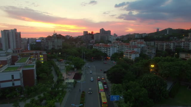 WS AERIAL shot of Xiamen downtownat sunset/Xiamen,Fujian,China