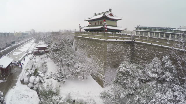 ws aerial shot of xi'an ancient city wall after snowfall/xi'an,china. - pagode stock-videos und b-roll-filmmaterial
