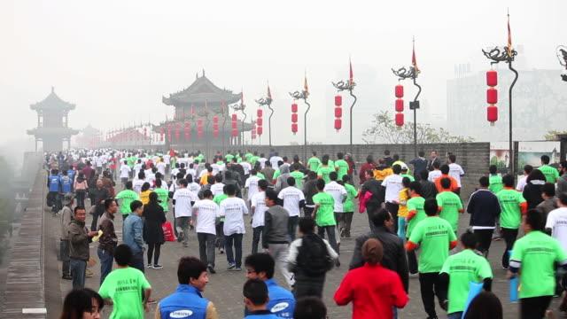 MS Shot of Xi'an city wall international marathon / Xi'an, Shaanxi, China