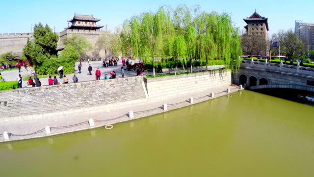 WS AERIAL Shot of Xi'an east gate of ancient city wall,Xi'an, Shaanxi, China