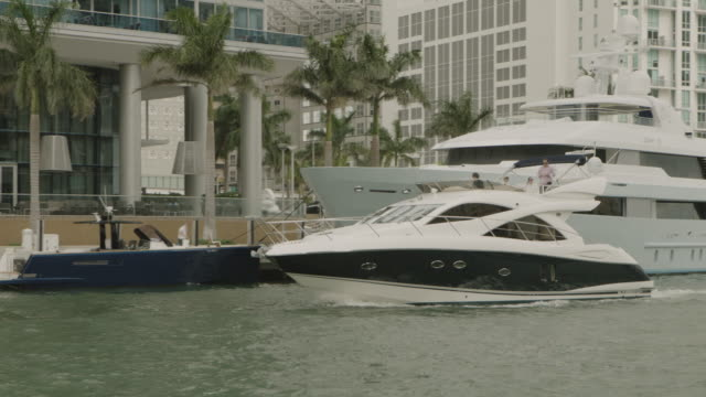 ms ts shot of yachts in canal between buildings / miami, florida, united states - 2k resolution stock videos and b-roll footage