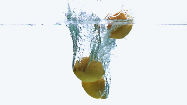 CU SLO MO Shot of Yellow Lemons, citrus limonum, Fruits falling into Water and splashing against White Background / Calvados, Normandy, France