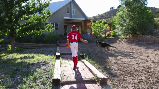 ms shot of young baseball player walking up to his home with dog / santa fe, new mexico, united states - un ragazzo adolescente video stock e b–roll
