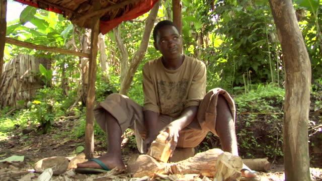 stockvideo's en b-roll-footage met ms shot of young batwa boy hand carves art out of wood / kigez, kabale, uganda - wiese