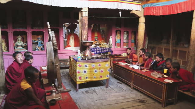 ws shot of young buddhist monks chanting religious words / ladakh, india - religion stock videos & royalty-free footage