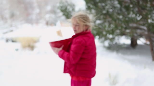 MS Shot of young girl and her dog walking in snow / Lamy, New Mexico, United States