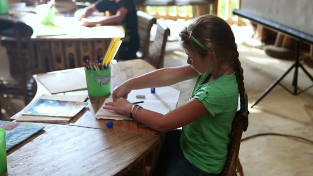 ms shot of young girl sitting at her desk and writing in school / ubud, bali, indonesia - glue stock videos and b-roll footage