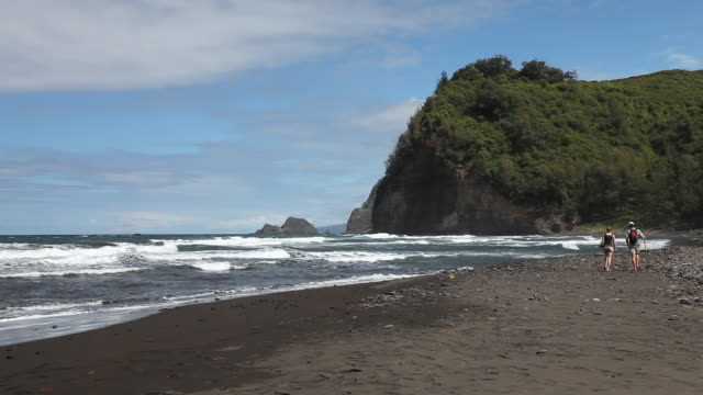ms shot of young man and lady couple in hiking clothes walk down pololu valley black sand beach with waves and sea cliffs in distance / waimea, hawall, big island, united states - ハワイ島点の映像素材/bロール