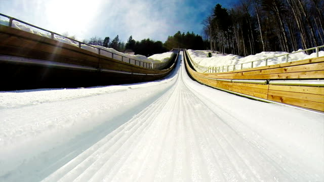 HD: Shot of Young Man at Ski Jumping