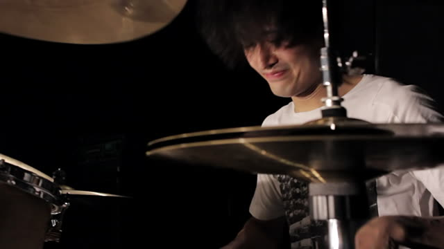 cu zo ts shot of young man playing drums / shinjuku, tokyo, japan - one young man only stock videos & royalty-free footage