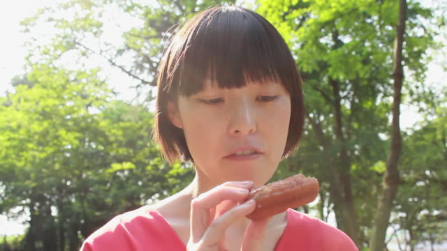cu shot of young woman eating doughnuts in park / nakano, tokyo, japan - donut stock videos and b-roll footage
