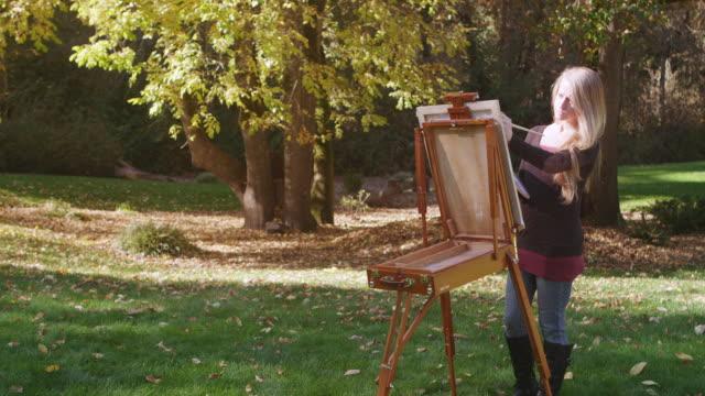 vídeos y material grabado en eventos de stock de ms shot of young woman paints outdoors while leaves falling of tree / hillsboro, oregon, united states - caballete equipo de arte y artesanía