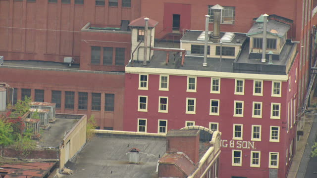 cu aerial tu shot of yuengling brewery building / pottsville, pennsylvania, united states - pottsville pa stock videos & royalty-free footage