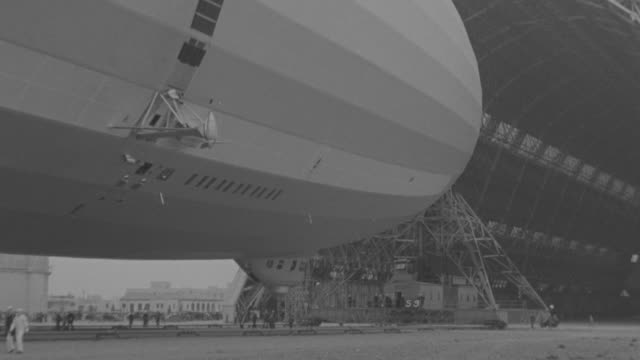 WS Shot of Zeppelin being pulled out of from hanger