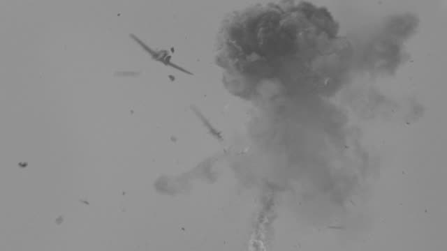 MS Shot of Zero flying in dogfite with another plane and is blown apart (miniature)