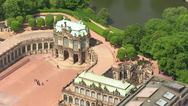 ms aerial zi shot of zwinger palace / dresden, saxony, germany - dresden germany stock videos & royalty-free footage