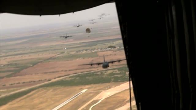 Shot off the ramp of a C130 Hercules Mass Parachute drop