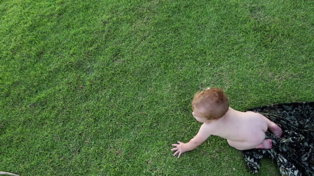 MS HA Shot over baby boy playing on grass / Ubud, Bali, Indonesia