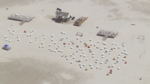 ws aerial zi shot over beach chairs at coastline / sankt pete ording, schleswig holstein - nordsee stock-videos und b-roll-filmmaterial