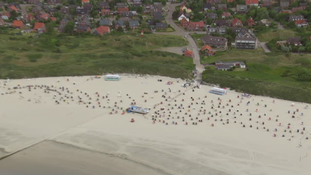 MS AERIAL ZO Shot over beach chairs at North Sea / Borkum, Lower Saxony