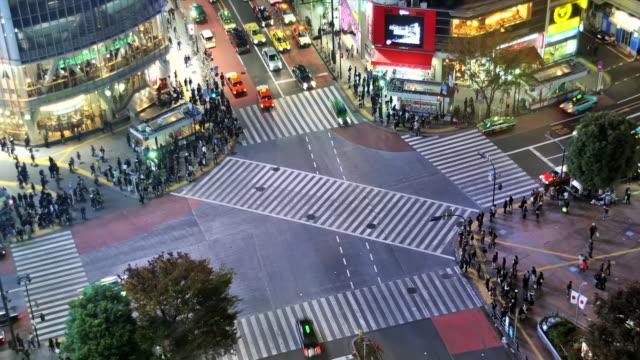 WS T/L ZI HA Shot over busiest pedestrian crossing in world Shibuya / Tokyo, Japan