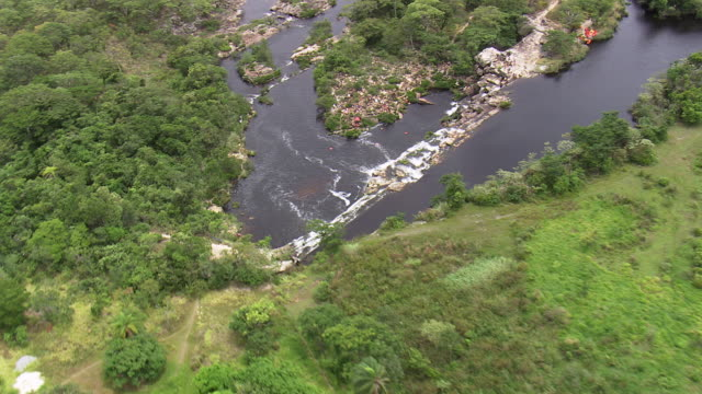 ws aerial zo shot over cachoeira grande waterfall / minas gerais, brazil - cachoeira stock videos and b-roll footage