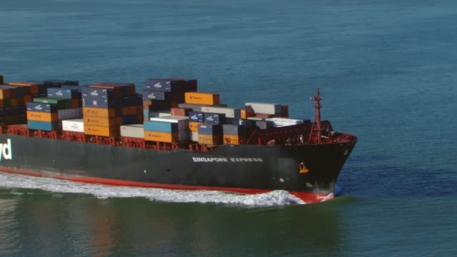 MS ZO AERIAL Shot over cargo ship to city skyline / San Francisco, California, United States