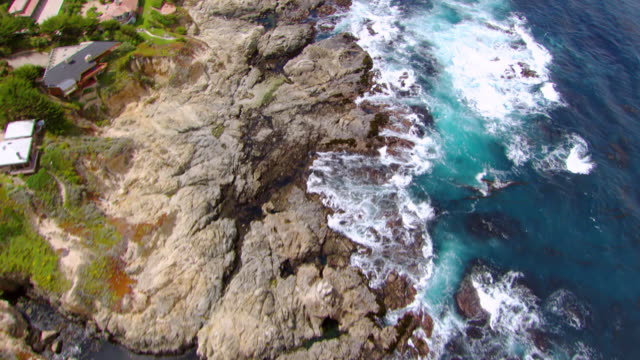 ms aerial shot over carmel coast / california, united states - carmel california stock videos and b-roll footage