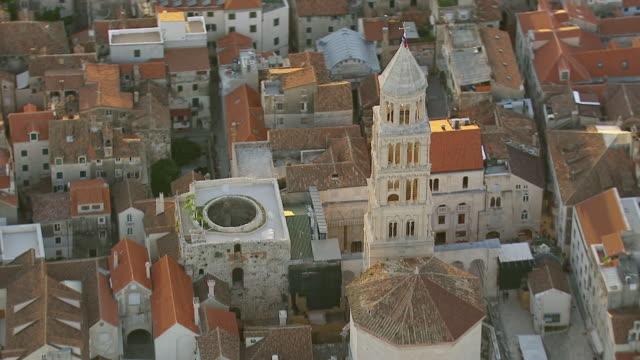 MS AERIAL Shot over church / Split, Split Dalmatia County, Croatia
