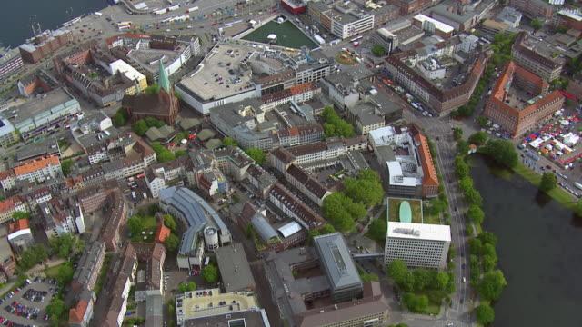ws aerial zi shot over city and buildings / kiel, schleswig holstein - schleswig holstein stock-videos und b-roll-filmmaterial