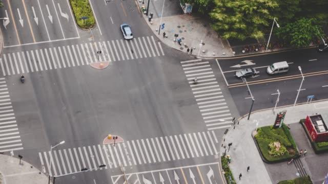 T/L ZI Schuss über Stadt Straße Kreuzung