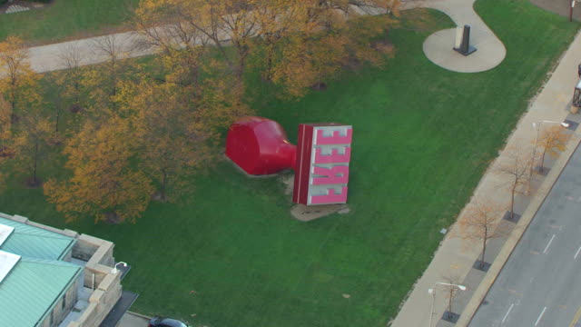 ms aerial shot over free stamp outside in willard park / cleveland, ohio, united states - comparison stock videos & royalty-free footage