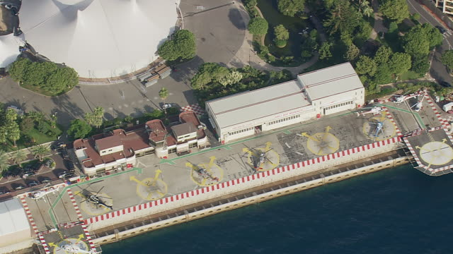 MS AERIAL Shot over heli air pad / Monaco, France