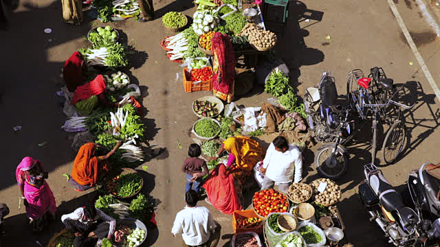 ws t/l shot over local vegetable market / pushkar, rajasthan, india - rajasthan stock videos and b-roll footage