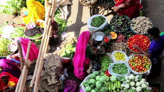 ms shot over local vegetable market visited by locals and tourists / pushkar, rajasthan, india  - green stock videos & royalty-free footage