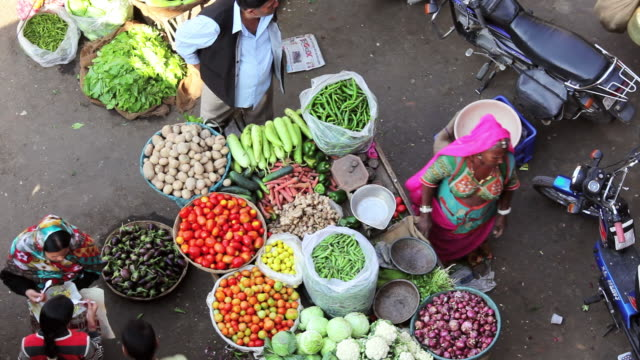 ms shot over local vegetable market visited by locals and tourists / pushkar, rajasthan, india  - rajasthan stock videos and b-roll footage
