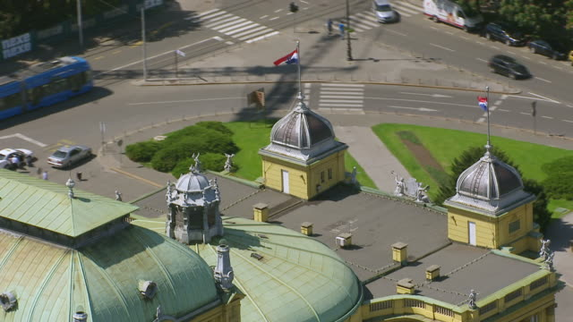 ms aerial ds shot over national theatre / zagreb, croatia - zagreb stock videos and b-roll footage