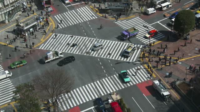 WS HA Shot over people crossing street in city / Shibuya ku, Tokyo, Japan