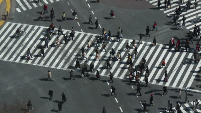 MS HA Shot over people crossing street in city / Shibuya ku, Tokyo, Japan