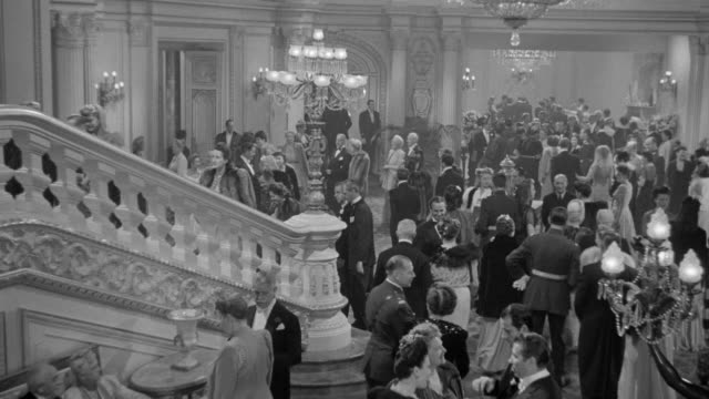 ws ha shot over people talking in hall - formal reception stock videos and b-roll footage