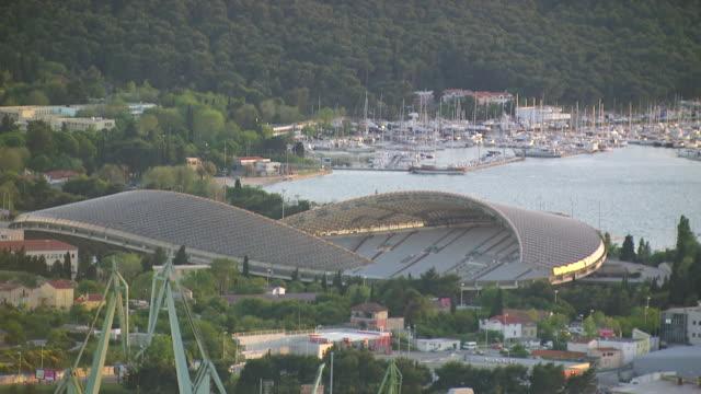 MS AERIAL Shot over poljud stadium / Split, Split Dalmatia County, Croatia