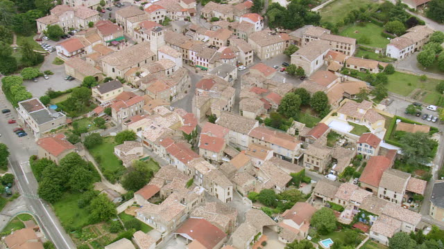 WS AERIAL Shot over roof tops in Montmeyran / Rhone Alpes, France