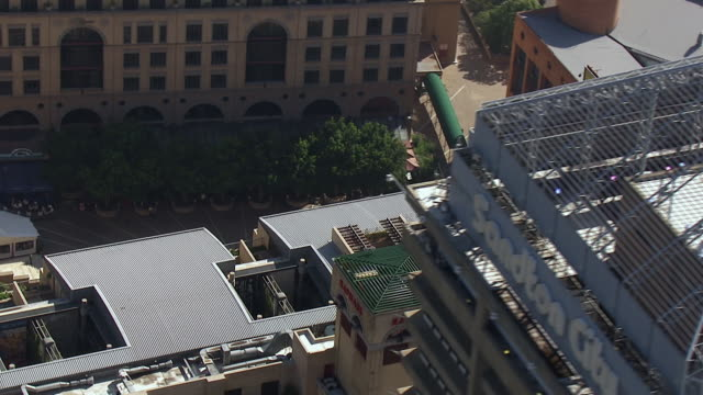 MS AERIAL Shot over sandton city building / Johannesburg, Gauteng, South Africa