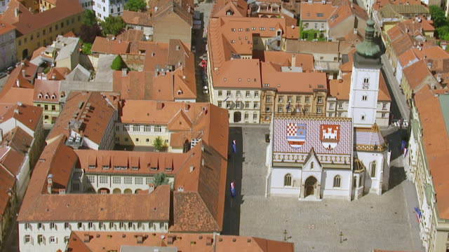 ms aerial shot over st. mark's church / zagreb, croatia - zagreb stock videos & royalty-free footage