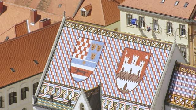 ecu aerial zo ds shot over st. mark's church / zagreb, croatia - croatia stock videos & royalty-free footage