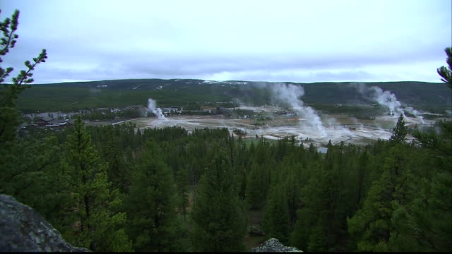 shot pans up from a rock to show the geysers at yellowstone national park in wyoming. - yellowstone national park stock videos & royalty-free footage